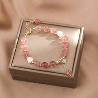 Beaded, Strands Elegant Strawberry Crystal Bracelet Peach Blossom Minority Baroque Natural Pearl Gift