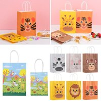 Gift Wrap 6pcs Recyclable Safari Animals Kraft Paper Party Supplies Handbag Bag Jungle Shop Loot Candy Package