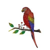 Arte della parete del pappagallo dell uccello del metallo con vetro rosso per la decorazione della decorazione domestica delle sculture delle miniature delle statue degli ornamenti delle fate all'aperto Decorazioni