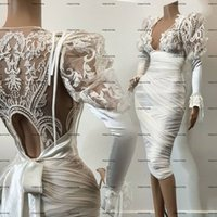 Little White Dress Long Sleeve Mermaid Knee-length Prom Dresses Sheer O-neck Aso Ebi Lace Evening Cocktail Wear Gowns