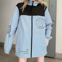 패션 패턴 여자 자켓 편지 인쇄 패치 워크 선 스크린 얇은 코트 Windbreake 여성 봄 가을 사랑 재킷 크기 M-2XL
