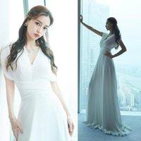 Повседневные платья Тот же Super White French Chiffon V-образным вырезом Талие платье Yang Ying Baby в 2092 году Weiya Studio