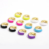 Hoop & Huggie Fashion Small Earrings For Women Girls Colorful Round Circle Enamel Earring Hoops Ear Buckle Jewelry Gifts