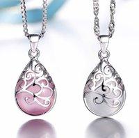 Opal Neckaces Aşk Açılı Gözyaşı Ay Işığı Damlası Kolye Neckace Kadınlar Için Hediye Kutusu Zinciri İmitasyon 925 Ayar Gümüş Kolye ZHL3222