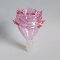 Amazing Rose Bowl per Bong Pyrex Glass Glass Accessori per fumare Accessori rosa Colore unico Design Unico 14mm Dimensione pipa dell'acqua Thick 50g