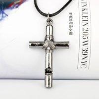 10 шт. Мужчины женщины свисток титановый сталь крест подвеска ожерелье с кожаным канатом мода ювелирные изделия ожерелье 1291 Q2