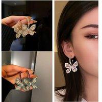 Серьги Crangels Crasselier Butterfly Crystal Crystal для женщин Blue Hrinestone Weddings Party Ювелирные изделия Аксессуары