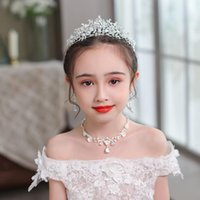 Hair Clips & Barrettes Kids Crystal Silver Color Tiaras And Crowns Girls Women Wedding Accessories Birthdays Party With Earrings Bands Gifts