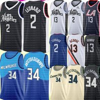 2021 Kawhi 2 Basketball Leonard Jersey Giannis 34 Antetokounmpo Jerseys Mens Paul 13 George Jersey Ventes pas chères Noir Blanc Blanc Bleu Green S-XXL