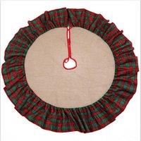 5 스타일 Christma 용품 크리스마스 트리 스커트 삼베 소재 코튼 프릴 48inch 수 놓은 홈 / 호텔 장식