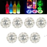 6cm LED Bottle Stickers Coasters Light 4LEDs 3M Sticker Flashing led lights For Holiday Party Bar Home Party Use CCB8757