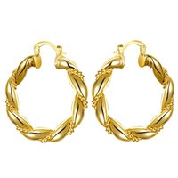Factory Wholesale 18K Gold Plated Rose Plateds Woman Hoop Earrings Fashion Party Jewelry Birthday Gifts Top Quality 1225 B3