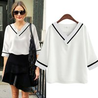 Fashion Casual T-Shirt European And American Foreign Trade Plus Size Women's Fat MM Short-sleeved Chiffon Shirt Summer Loose Thin V-Neck