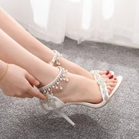 Sandals Transparent queen sandals summer, white bride's shoes for women, wedding high heels with rhinestones. O78E