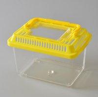 Küçük Pet Tavşan Evi Mini Temizle Hamster Kafesi Sevimli Şeffaf Plastik Goldfish Kaplumbağa Kase ile Taşınabilir Kolu Birçok Renkler DDA5530