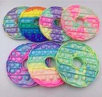 Fête arc-en-ciel beignets en forme de poussoir bulle pop silicone réutilisable jouets enfants stress reliever jeu jeu
