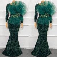 Sexy Mermaid Evening Dresses Long Sleeves with big bow 2021 African Sequins hunter green Prom Dress Formal Gown