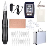 Tattoo Pen Kit Hybrid Rotary Machine Permanent Makeup Power Supply 20 Needle Cartridges EK201A1