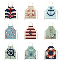 Mediterranean Compass Boat Anchor Polyester Print Apron For Women Household Cleaning Sleeveless Blouse Kitchen Baking Aprons