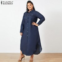 Casual Kleider Plus Size Mode Hemd Kleid Frauen Frühling Sommertress Zanzea 2021 Taste Demin Blau Maxi Vestidos Weibliche Revers Robe FZH