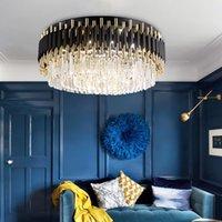 Living room crystal chandelier for ceiling modern black cristal light fixture round bedroom decor lamp led indoor lighting