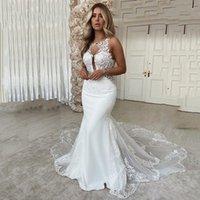 Jewel Neck Lace Mermaid Wedding Dresses Appliqued Court Train Backless Plus Size Beach Bridal Gowns Vestido de Novia