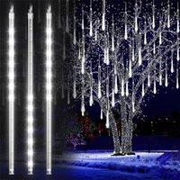 Dizeleri LED Meteor Duş Bahçe Işıkları Su Geçirmez Düşen Yağmur Damlası Peri Dize Noel Tatil Partisi Veranda Dekor 30/50 cm
