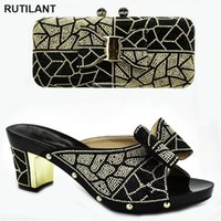 Dress Shoes Italian Shoe And Bag Set For Party In Women Nigerian Wedding Decorated With Rhinestone High Heels