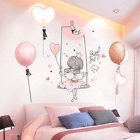 Pegatinas de pared [shijuekongjian] Dibujos animados niña luna DIY globos globos murales calcomanías para niños Habitaciones bebé dormitorio dormitorio casa decoración