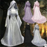 Casual Dresses 2021 Womens Luxury Vintage Royal Gothic Victorian Medieval Long Sleeves Hoodie Slim Fancy Halloween Cosplay CostumeS-5XL