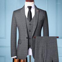 클래식 패션 남자 슬림 비즈니스 정식 착용 남성 패션 3 조각 남자의 Trailblzer 턱시도 양복 Groom1에 대 한 최고의 웨딩 드레스