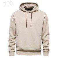 AIOPESON Fleece Drop Sleeve Oversized Hoodies Men Casual Solid Cotton Mens Sweatshirt Autumn Winter Warm Hoodie for Men 3