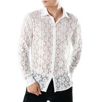 Men's Dress Shirts Long Sleeved Lace For Man Mesh Sheer Summer Thin Mens Shirt Perspective Streetwear European And American Style Topwear