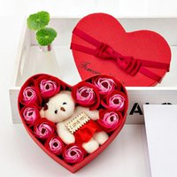 San Valentino rose regalo scatola regalo festa 10 sapone fiore bouquet orso bouquet decorazione di nozze regali vacanze romantiche scatole a forma di cuore HWF8