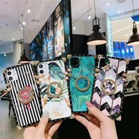 Luxury 3D Bracket Ring Holder Blu-ray Square Silicone Cases For iPhone 13 12 11 Pro X XR XS MAX 7 8 Plus Flowers LG Stylo 7 6 5 4 Phone Case Cover
