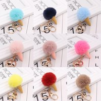Kimter Stylish Ice Cream Cone Fluffy Keychain for Women Artificial Faux Rabbit Fur Pompoms Keyring Handbag Puff Ball Keyfob Jewelry P27FA
