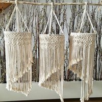 Lamp Covers & Shades Handmade Knitted Macrame Home Wedding Decoration Chandelier Tassel Lampshade Wall Hanging Bohemian Lights Cover Tapestr