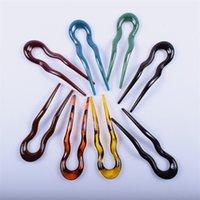 Wholesale Plastique Cheveux Fourchettes Pinces U Shape Baguettes Stick-Coupes Sticks ondulés Chignon Bun Updo Spirale Rapide Spirale Tresse Twist Twist Cylisme Accessoire 2507 Y2