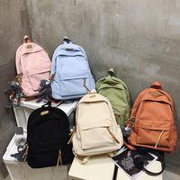 Backpack Solid Color Waterproof Nylon Women Large Capacity Boys And Girls Travel Bag Unisex College Schoolbag Laptop Backpacks