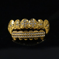 Gold Teeth Grillz Rhinestone Top&Bottom Shiny Teeth Grills Set 24K Gold ICED OUT Teeth Hip Hop Jewelry