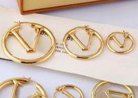 Europa Amerika mode stil ohrstecker dame frauen gold silberfarben hardware graviert v initials aushöhlen hoop ohrring m64288 größe s