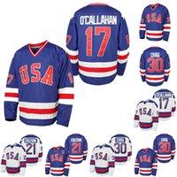 Hombre 1980 Milagro en el jersey de hockey sobre hielo # 17 Jack O'Callahan # 21 Mike Eruzione # 30 Jim Craig 100% Steyed Team EEUU EEUU HOCKEY Jerseys Blanco azul