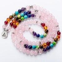 Tênis 7 chakra cura equilíbrio mala frisado rosa-quartzo pedras pulseiras lótus árvore de vida buda om multi-camada mulheres envoltórios