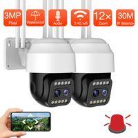 Cámaras 3MP Cámara WiFi Dual Lente 12x ZOOM 1080P Inalámbrico al aire libre PTZ AI Seguimiento automático humano CCTV Seguridad Vigilancia