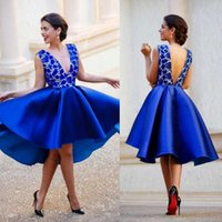 New Royal Blue Plunging V Neck Backless Short Prom Lace Satin Sexy Cocktail Homecoming Dresses Hi Lo Arabic Party Gowns H0916