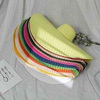 Yaz süper büyük saçak sahil hasır şapka tatil fotoğraf modeli güneş şapka geçirmez katlanabilir plaj kız sunhat