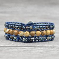 Tennis Handmade Boho 3 Row Natural Stone Leather Wrap Bracelet Genuine Semi-Precious Stones Cuff Unisex
