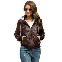 Women's Leather & Faux Moto Biker Zipper Jacket Female Coat Winter Autumn Plus Velvet