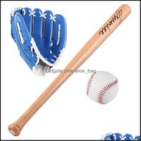 Other Sporting Goods Sports & Outdoors25 Inch Wood Baseball Sets Kids Outdoor Professional Softball Bats Gloves Ball Three-In-One Exercise T