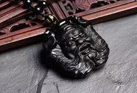 Naturale Obsidiana Handmade Zhong Kui Buona fortuna pendente Ping GRATIS Ping